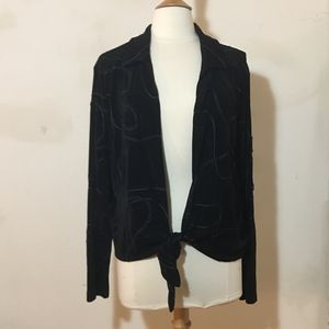 Chicaos Black Open Tie Front Cardigan